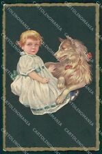 Colombo Art Deco Little Girl and Spitz Dog serie 454 postcard cartolina QT6518