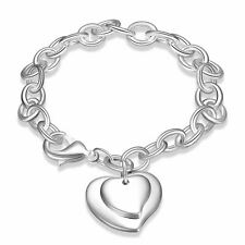 925 Silver Plt Double Love Heart Charm Bracelet / Bangle / Anklet Ladies A
