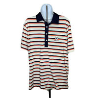 Ralph Lauren Mens Polo Golf Shirt Cabo Del Sol Logo L Striped White Blue Pink