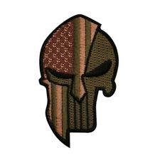 USA Flag Spartan Helmet Punisher Hook Patch BY MILTACUSA (MTC5)