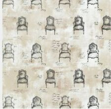 Wallpaper Designer Black French Chairs and Script on Beige and White Faux