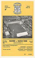 Football Programme - Watford v Halifax Town - Div 3 - 20/4/1963
