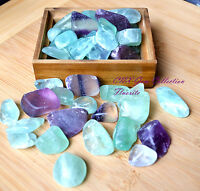 Tumbled Gemstone Natural Crystal Green Purple Fluorite Chip Stone Large XL 20g