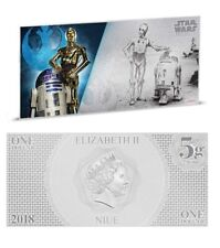Star Wars dollar notes - R2-D2 C-3PO 5g silver coin note Niue 1$ 2018