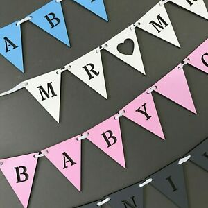 Personalised Wooden Bunting triangle ANY COLOUR Wedding, Party, Baby Shower