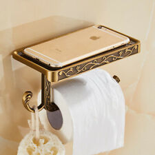 Bathroom Antique Bronze Toilet Paper Holder with Phone Shelf Retro Tissue Holder