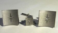 Vintage Swank Cufflinks & Tie Tack set Silver Tone Star Design Square Rounded
