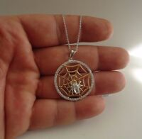 SPIDER WEB NECKLACE PENDANT W/ LAB DIAMONDS / 925 STERLING SILVER / 18'' CHAIN