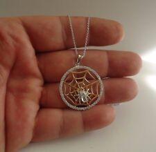 SPIDER WEB NECKLACE PENDANT W/ LAB DIAMONDS / 925 STERLING SILVER / 18'' CHAIN
