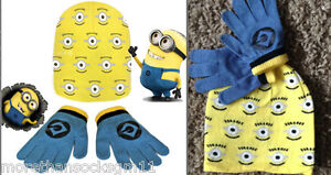 Minions Beanie Hat Gloves Despicable Me Boy Girl One Size Yellow Hat Blue Gloves