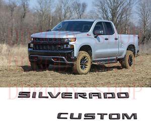 2019-2020 Chevrolet Silverado Tailgate Silverado Custom Gloss Black Emblem