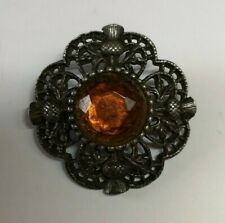 Unknown Metal Brooch With Amber Colour Gem And Thistles Scottish (D1)