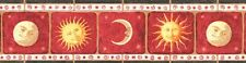 """MOON&SUN-FRAMED-BORDER-RED BACKGROUND-6 3/4""""HIGH-$9.00 PER ROLL-FREE S&H"""