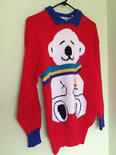 """Ted E. Bear Vintage  """"Bear with Us""""  Pullover Acrylic Red Sweater Large"""