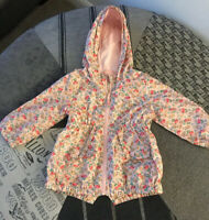 BNWOT NEXT Girls Pink Floral Jacket With Hood Rain Resistant Age 1.5-2 Years