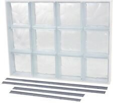 Solid Glass Block Window Wave Pattern Replaceable Screen 4 Way Installation New
