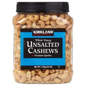 Kirkland Signature Unsalted & Roasted Cashews, 1.13kg