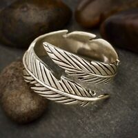 Boho Style Adjustable Feather Wrap Ring - Sterling Silver .925 - Gift Wife Girl