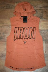 Under Armour Men's Project Rock Terry Iron Hoodie 1744 Size M (Orange Oxide) NWT