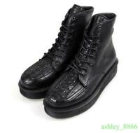 Mens Rockabilly Punk Goth Platform Shoes Real Leather Black Creeper Shoes High