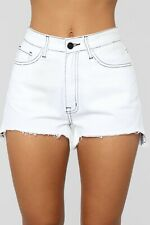 White Wash Denim Hip High Rise Waist Distressed Shorts Large L