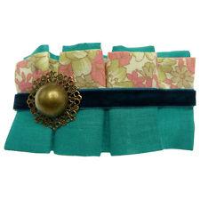 Barrette Pince à Cheveux Tissu plissé bleu vert et rose cabochon doré bronze