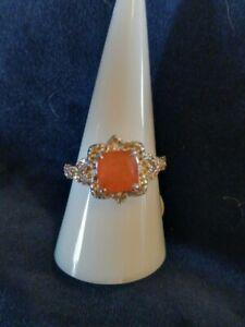 ring bomb party 2929 natural fusion sunrise orange quartz rhodium sz9 srp $124
