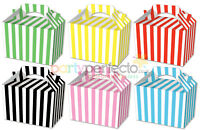 10 Striped Boxes - Choose From 6 Colours - Food Lunch Cardboard Stripey Popcorn