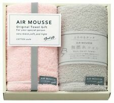 Air Mousse Natural Collection Untwisted thread Pink & Grey Face Towel From JAPAN
