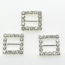 10pcs/lot 16mm Square Silver Rhinestone Wedding Buckles Metal DIY Hair Accessory