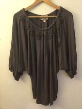 Baraschi Anthropologie Gray Shirt W/Short Dolaman Sleeves Size XS
