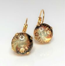 Brown Gold Flower Earrings Lever Back Vintage Style Resin Drops Bridal Gift