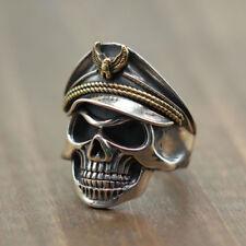 925 Sterling Silver Undead Officer Soldier Punk Biker Halloween Eagle Skull Ring