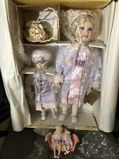 Set 2 Seymour Mann Porcelain Dolls Joann & Larissa with Basket & Ceramic Figure