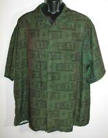 Rocawear Men's Green Casual Short Sleeve Button Down Graphic Shirt Size XXL 100%