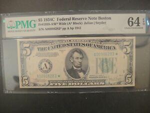 1934-C US $5 Star * FRN. Boston. Light Green Seal. Pop 3 None Finer. PMG 64 EPQ