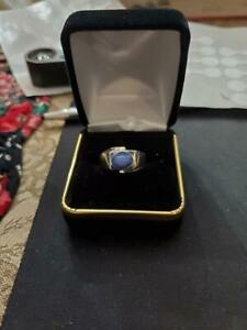 MENS BLUE STAR SAPPHIRE RING IN 14 K WHITE GOLD 2.5 TCW