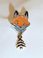 GOLD PLATED & ENAMEL FOX & TREE TIE TACK OR PIN - FREE UK P&P......W1598