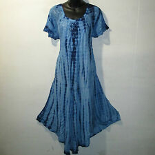 Dress Fits 1X 2X Plus Long Sundress Blue Tie Dye Lace Sleeves A Shaped NWT 7601