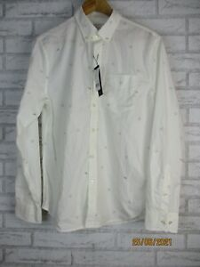 Banana Republic mens shirt M white airplane print collared 100% cotton