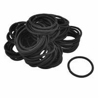 Lady   Black Nylon Wrapped Strechy Rubber Hair Band 80 Pcs