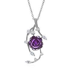 "Amethyst & Cubic Zirconia Rose Pendant in Sterling Silver - 18"""