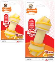 NYLABONE RAWHIDE KNOT ALTERNATIVE Bacon Cheese Durable Tough Nylon Dog Chew Toy