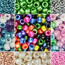 100 Pony Beads 9 x 6MM With 4mm Large Hole 109 Colors same day shipping