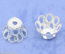 JP 200 Silver Plated Flower Bead Caps 6x5mm Findings