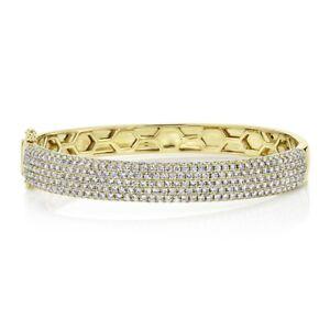 Diamond Pave Bangle Wide 14K Yellow Gold Natural Round Cut Women's Small 4.21 CT