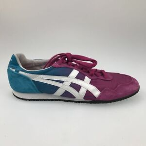 Onitsuka Tiger Womens Serrano Running Shoes Pink Blue D471L Lace Up Low Top 7 M