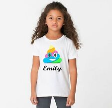 PERSONALISED rainbow emoji poo funny t shirt  all sizes and colours