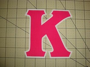 5 INCH GREEK SORORITY/FRATERNITY (NO SEW) IRON ON LETTERS -HOT PINK/WHITE