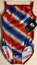 Gk Shining Spirit Cami Leotard Child Large American Dream Red White Blue Foil Cl